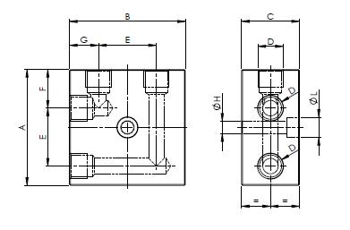 Распределительные блоки 90 градусов двухлинейные