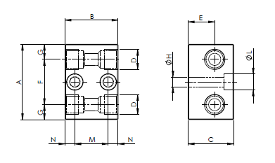 Распределительные блоки прямые двухлинейные