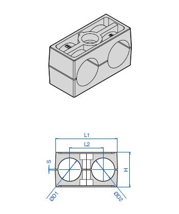 Двухлинейные клипсы с плитой